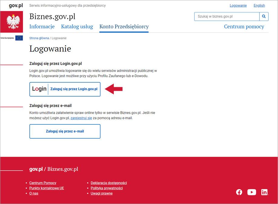 Ekran logowania na portalu Biznes.gov.pl